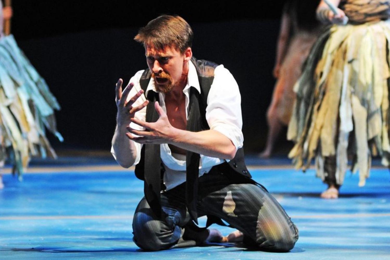 """Tyler Eglen in """"Nation,"""" ASU Galvin Theatre, 2014"""