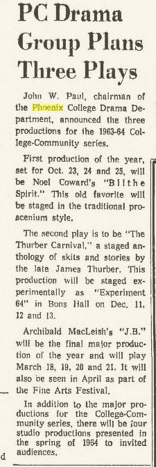Phoenix College Phoenix Arizona Republic, September 15, 1963