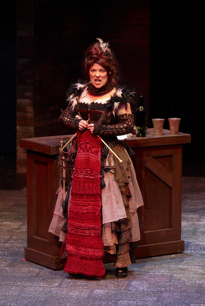 Debra K. Stevens as the vengeful Madame Defarge with her coded knitting in Childsplay's world premiere of Dwayne Hartford's  A Tale of Two Cities, based on the Charles Dickens novel and produced in 2008 (Photo by Heather Hill)