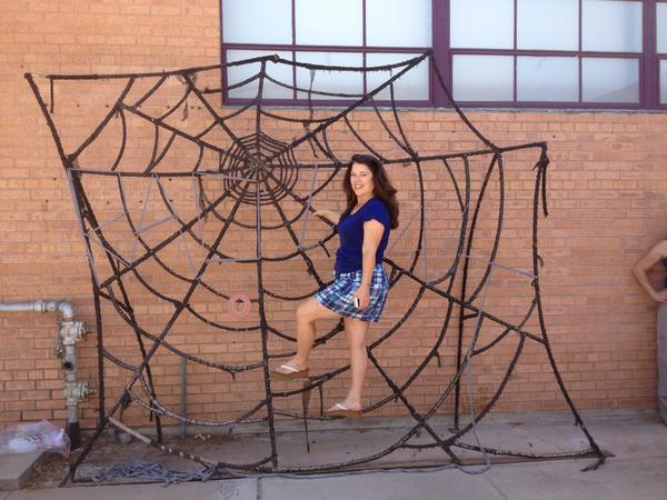 Debra gets into shape for her role as a spider in 'Charlotte's Web.' (Photo credit unknown)