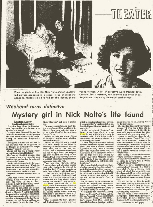 Mystery Girl in Nick Nolte's Life Found, Oct. 14, 1977
