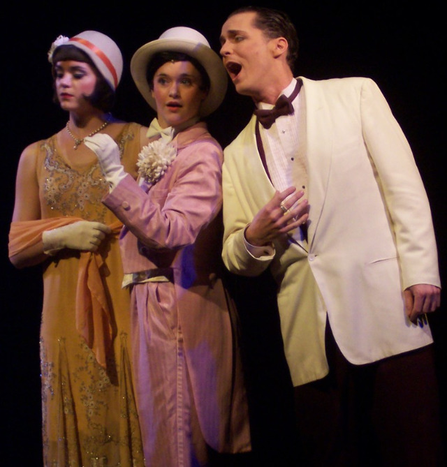 """Elizabeth DeRosa as Sally, Rhyn McLemore as Madelaine, and Ian Christiansen as Jackie in the 2004 production of """"The Wild Party"""" at Carnegie-Mellon University. (Photo credit unknown)"""