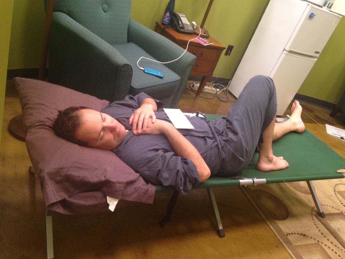 Ian grabbing some down time during the summer rep season at Actors Theatre. (Photo courtesy of Maren Maclean)