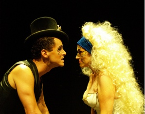 """Saucy Jack and Jubilee Climax (Ian Christiansen and Lisa Fogel) square off in the Nearly Naked Theatre production """"Saucy Jack and the Space Vixens."""" (Photo by CJ Mascarelli)"""