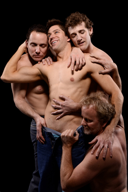 "David Weiss (kneeling), Jonathan Brian Furedy (center), Ian Christiansen (left), and Eric Boudreau (right) get in the mood in ""Octopus."" (Photo by John Groseclose)"