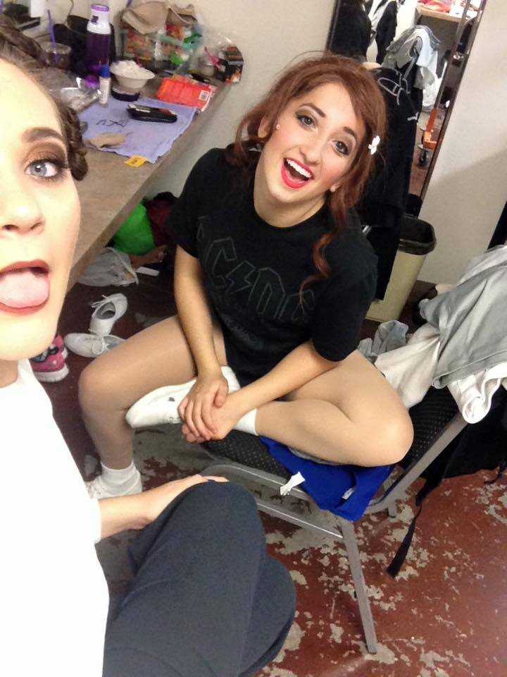 2015. Carly Nicole Grossman relaxes backstage with Haley Barton.