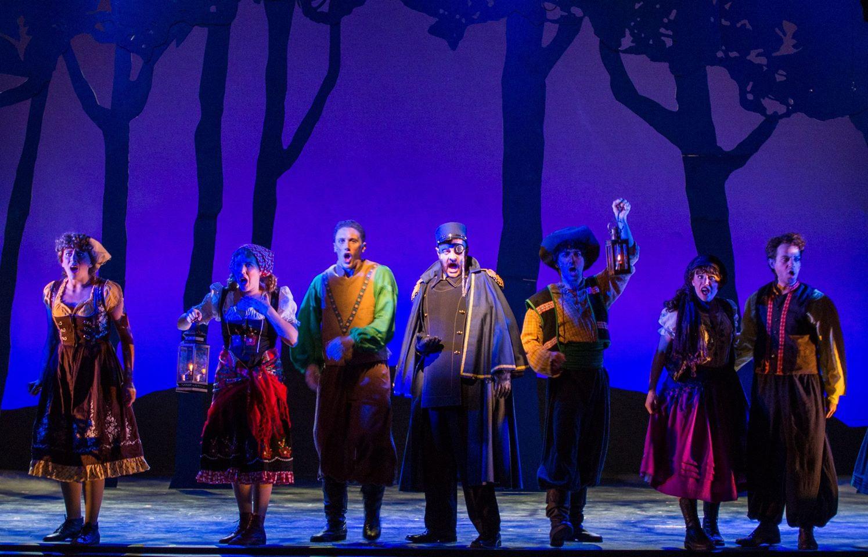 "Lynzee Paul Foreman, Katie Larson, Adam Shaff, Brad Rupp, DJ Petrosino, Alissa Tucker and Diego Diaz at Arizona Broadway Theatre's ""Young Frankenstein,"" 2014. (Photo credit unknown)"