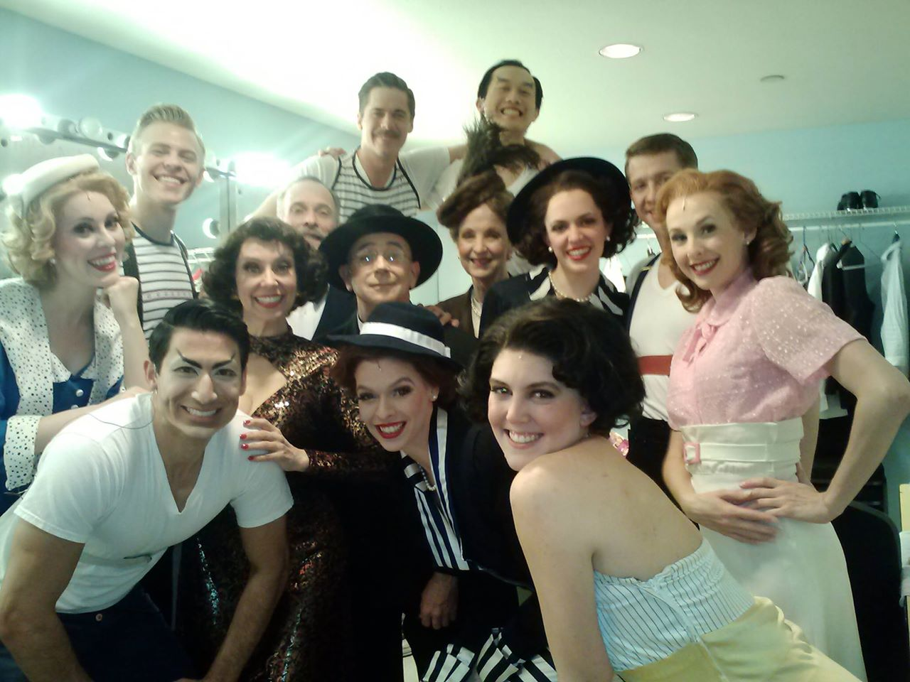 "Backstage with the cast of ""Anything Goes"" at Phoenix Theatre (2015). Photo from David Barker's Facebook collection. Among those pictured: Ashley Stults, Cooper Hallstrom, Nikko Kimzin, Debby Rosenthal, Jon Gentry, Nic Bryan, Kate E Cook, Christy Welty, Charles Pang, Shelby Jensen, Claire Flatz, Ryan David Kleinman and Trisha Ditsworth."