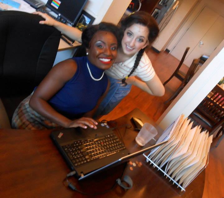 """Brittney Mack and Carly Grossman backstage during """"Memphis"""" at Phoenix Theatre."""