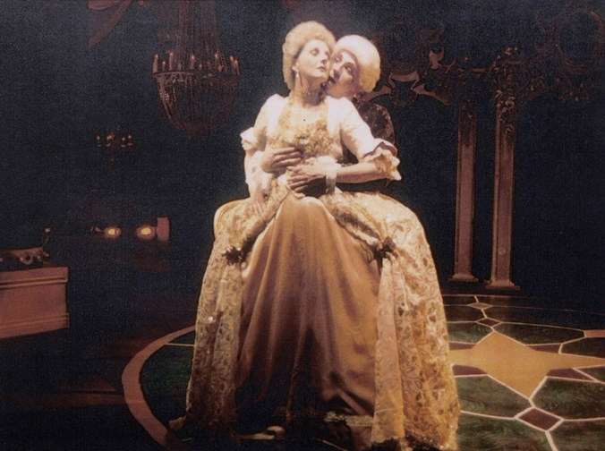 """Laura Durant and Terry Gadaire in """"Les Liaisons Dangereuses"""" at Stagebrush Theatre."""