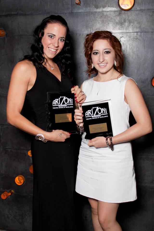 Lynzee Paul Foreman and Carly Nicole Grossman with their ariZoni Awards. (Finding Joy Photography)