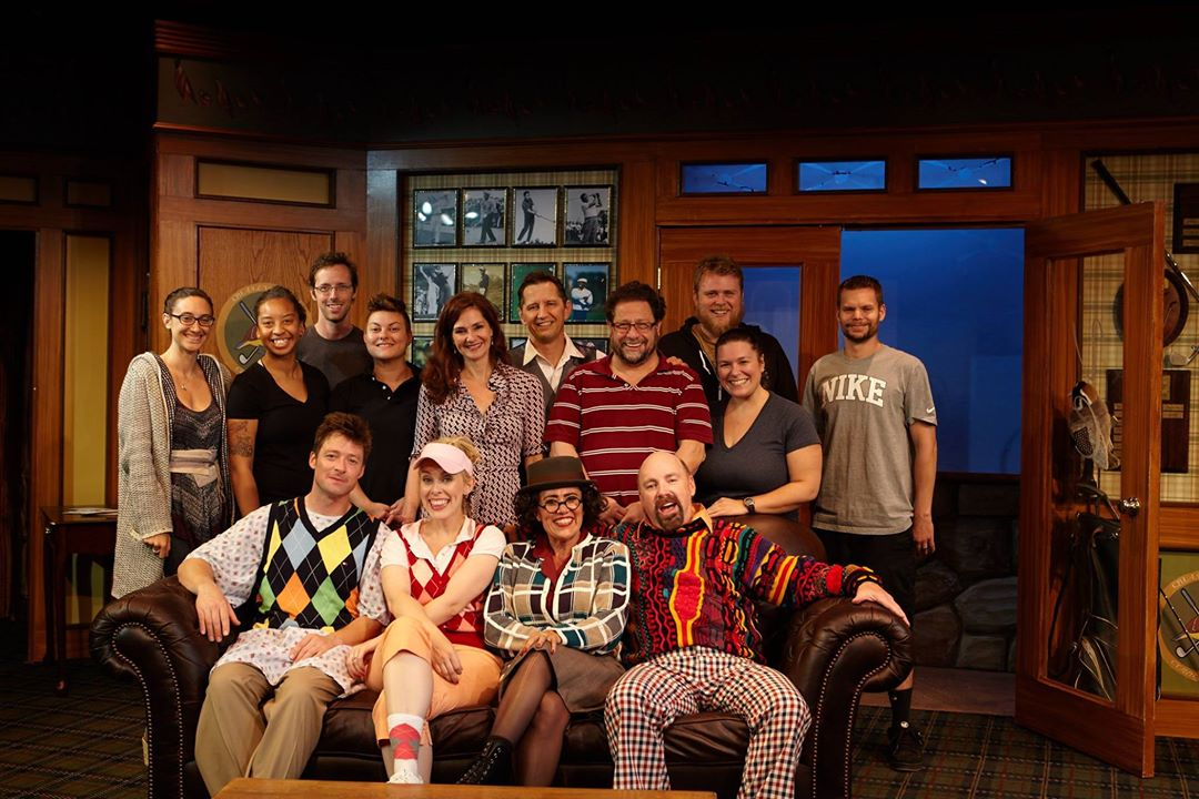 "Matthew Wiener directed Kyle Sorrell, Ashley Stults, Roxane Carrasco, Brian Salmon, Matt Novotny, Andrea Gutierrez, Ryan Ford, Jackie Ritz, Monica Perfetto, Aaron Rumley, Victoria Quintanar and Elisa Benzoni in ""The Fox on the Fairway"" at North Coast Repertory in San Diego. September, 2015. (Photo by Aaron Rumley)"