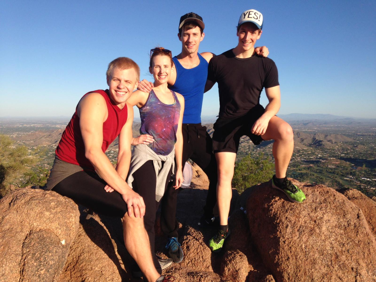 Early morning hike on Camelback Mountain. Cooper Hallstrom, Trisha Ditsworth, CJ Pawlinkowski and Lucas Blair. (Photo from Lucas' Facebook archive.)