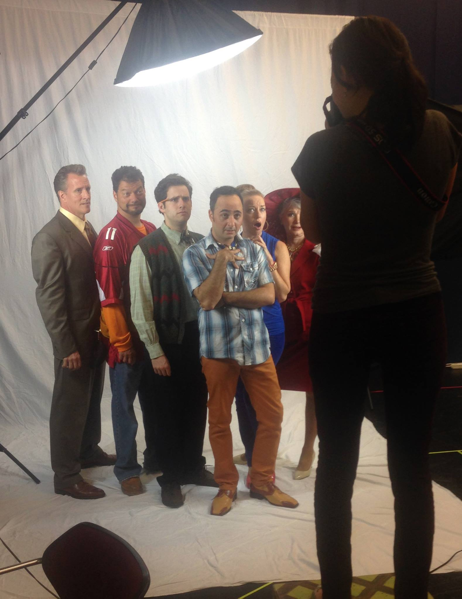 "Behind the camera for the first photo shoot for ""Shear Madness,"" 2014, Phoenix Theatre. (Photo by Erin Evangeline)"