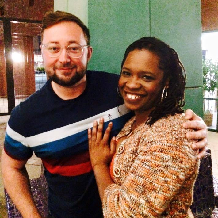 Playwright Steve Yockey visits the Stray Cat Theatre production of 'Pluto' and is greeted by one of its stars, Yolanda London. Photo by Brooke Unverferth.