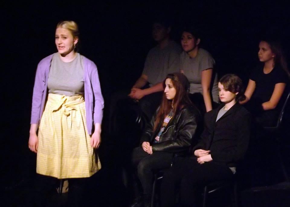 Spotlight Youth Theatre. The Laramie Project. Brooke Taylor Shobe, Carly Nicole Grossman and Elizabeth Rickel. (Photo by Bobby Sample)
