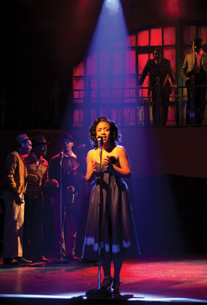 "Tia DeShazor is club singer Felicia Farrell in ""Memphis."" (Photo by Erin Evangeline)"