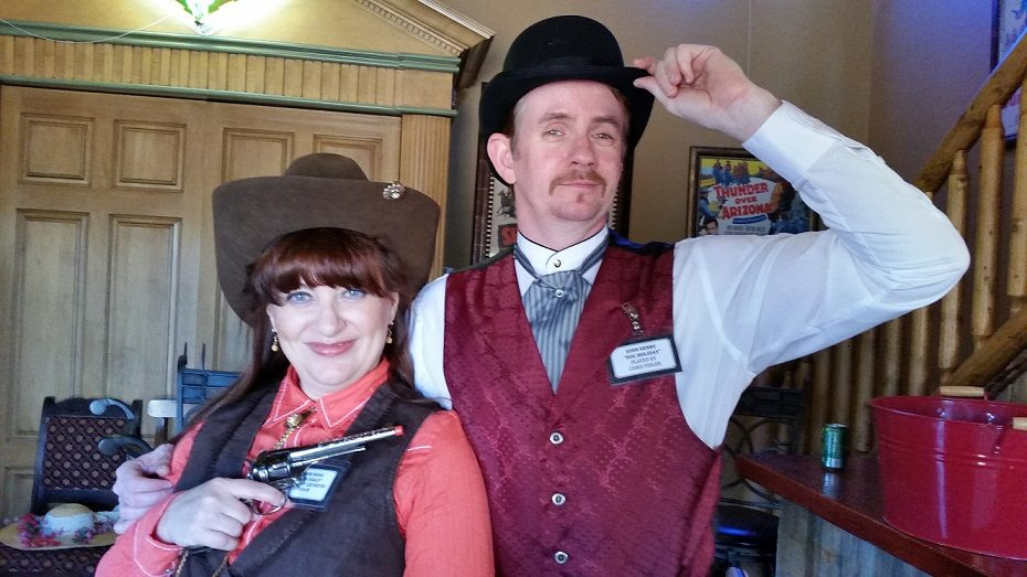 Fountain Hills Theatre. 2014. High Noon at Gunsight Pass. Lizz Reeves Fidler as Annie Oakley and Chris Fidler as John Henry 'Doc' Holliday. Photo credit unknown.
