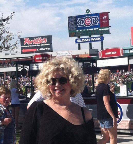 Hanging at a Cubs game: Kathie Osborne, 2015