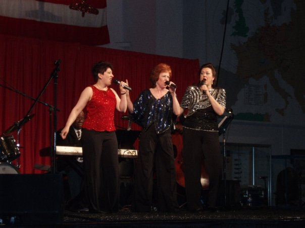 Kathy Donald Jazz Ensemble USO Show (2009) — with Lizz Reeves Fidler, Kathy Donald and Susan Gerkin at Night in the 40s Dance. Photo credit unknown.