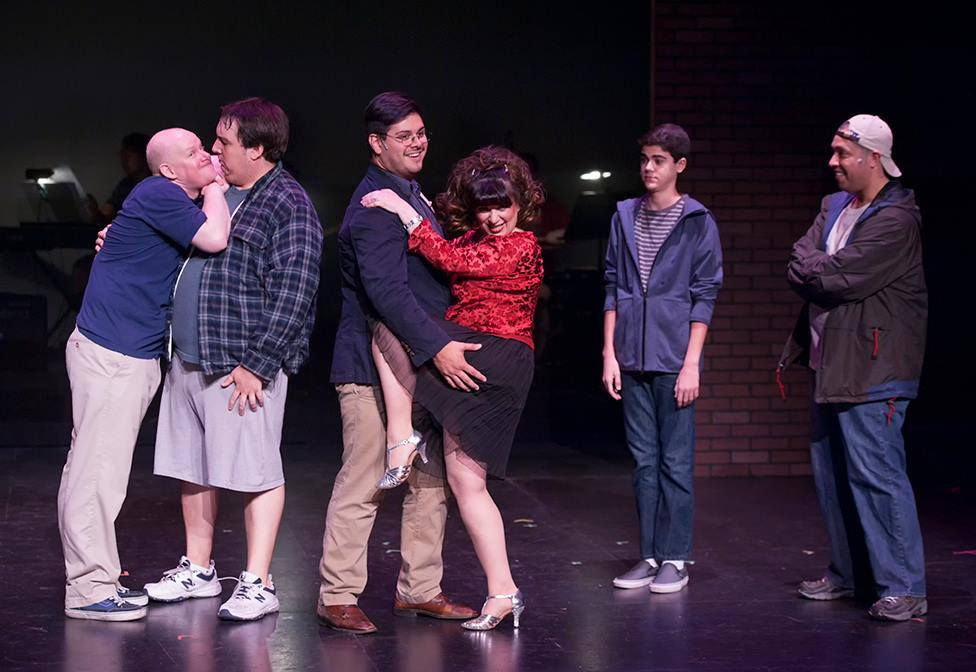 Mesa Encore Theatre The Full Monty 2013 Lizz Reeves Fidler, Chad Campbell, Andrew Lipman, Julian-Sebastian Pena and Damon J. Bolling.