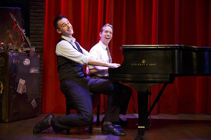 "Joe Kinosian and Ian Lowe play many different characters (and the piano!) in the mystery spoof, ""Murder for Two,'' produced by Arizona Theatre Company in 2014/2015. Photographer not credited."