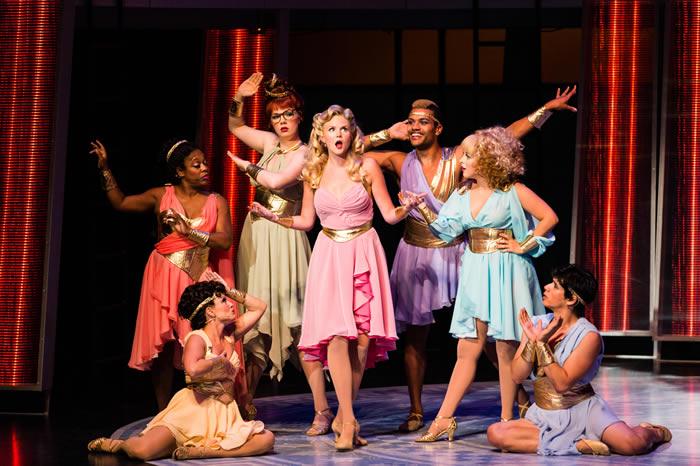 Arizona Theatre Company. 2014. Xanadu. Jessica Skerritt (center). Photographer not credited.