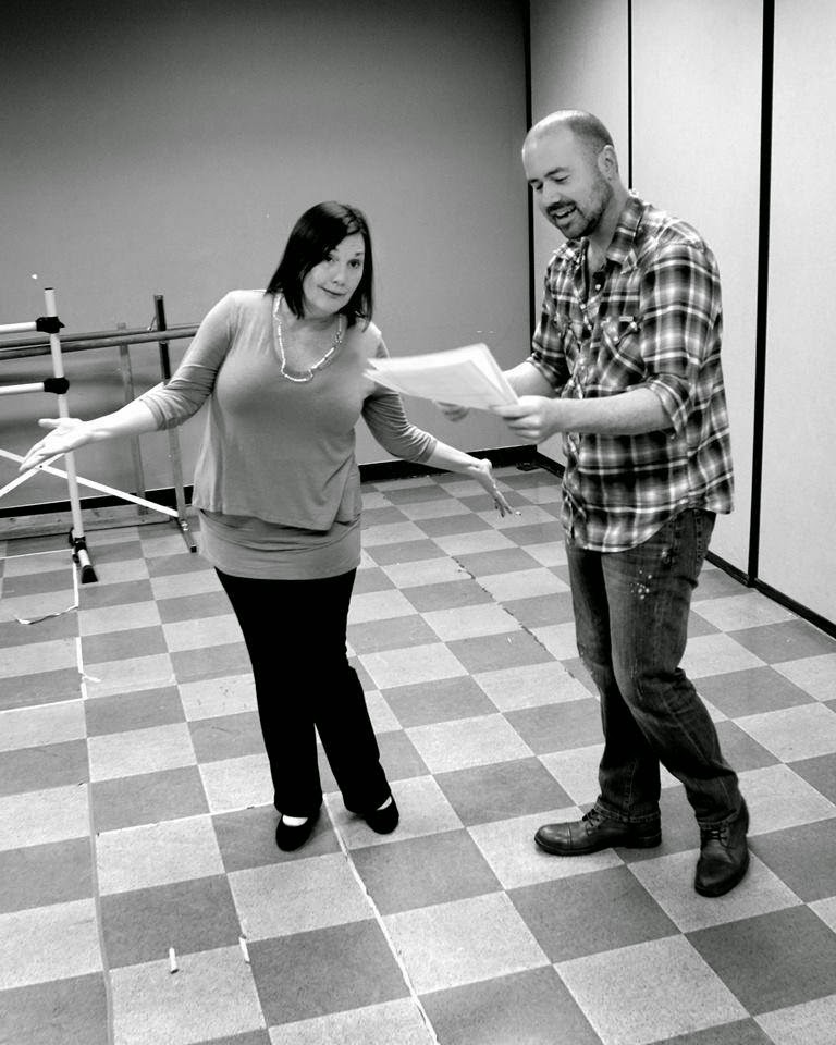 Phillip Fazio, right, directing  Kelli James Chase in 'Follies,' 2015, Theater Works. Photo by Alastair Gamble.
