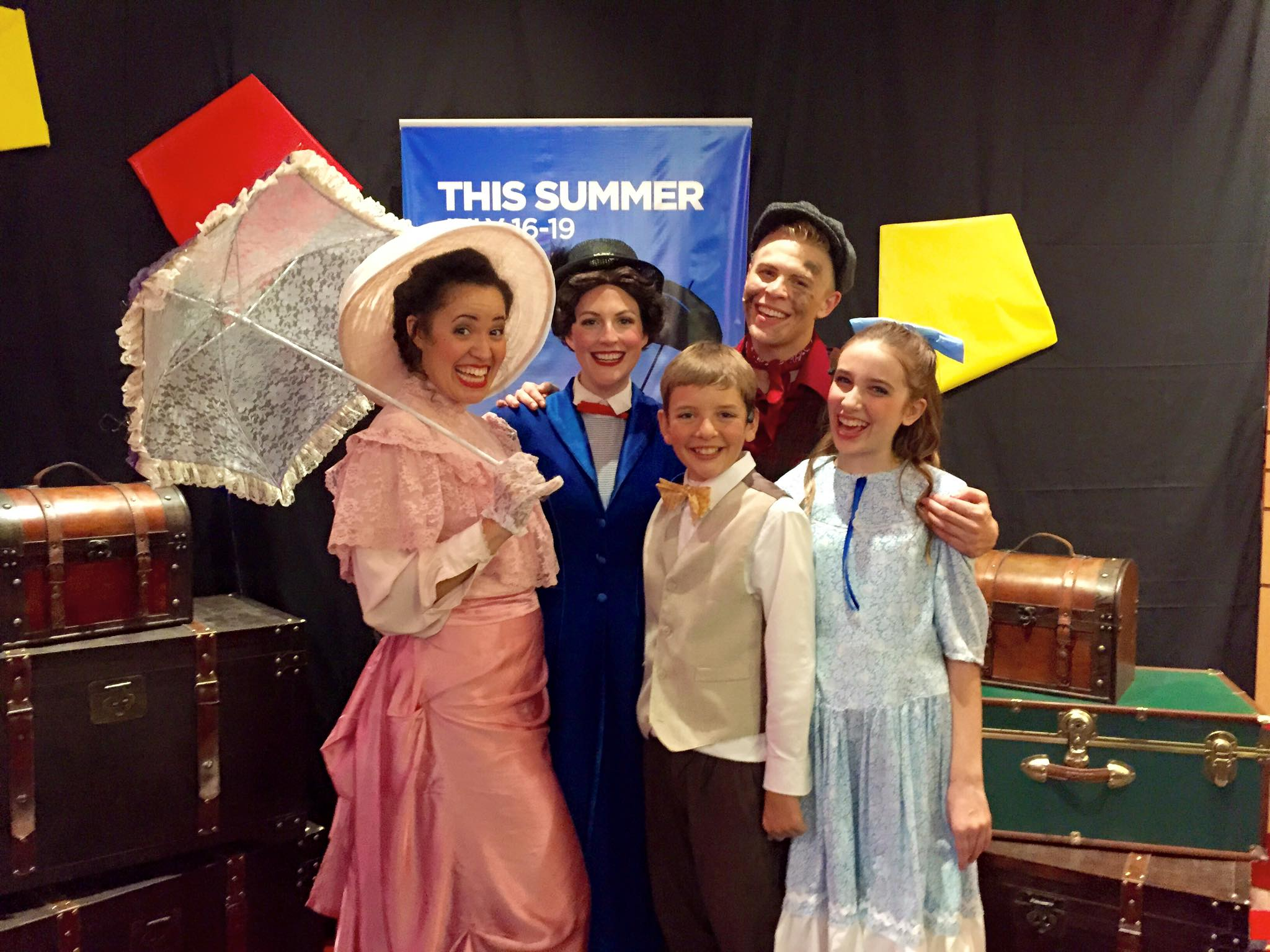 2015. Mary Poppins. Danica Keiko Koestner, Laura Pyper, Debbie Main, Cooper Hallstrom and Kelly Fink. (Facebook Photo)
