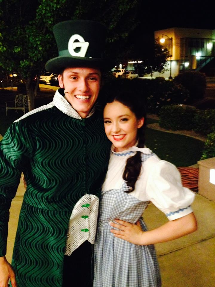 "2015. Jessie Jo poses with a resident of the Emerald City, James D. Gish, in ""The Wizard of Oz"" at Hale Centre Theatre. (Facebook Photo)"