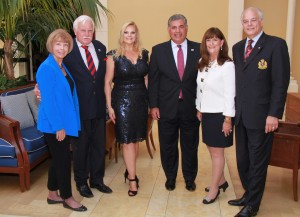 Connie Siskowski, Coach Howard Schnellenberger, Kari Oeltjen, Anthony Barbar, Mayor Susan Haynie and Jon Kaye