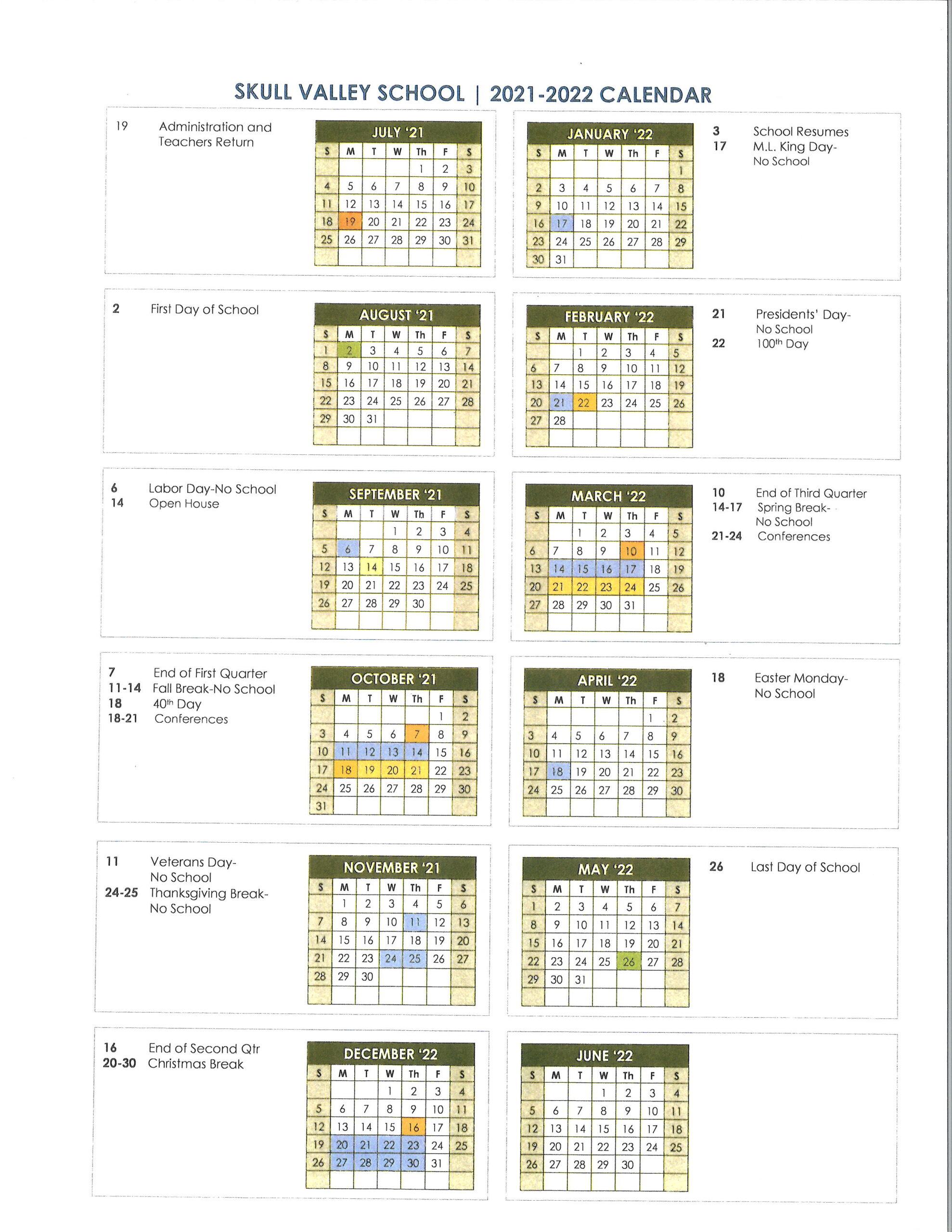 Skull Valley School District Calendar