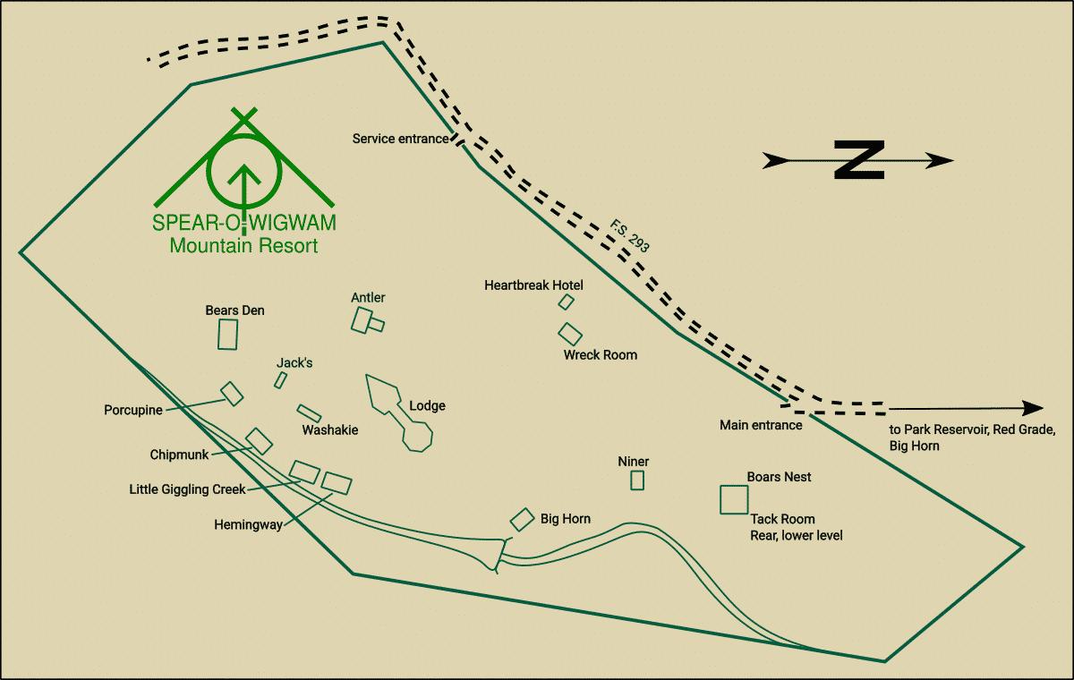 Spear-O-Wigwam Cabins Map