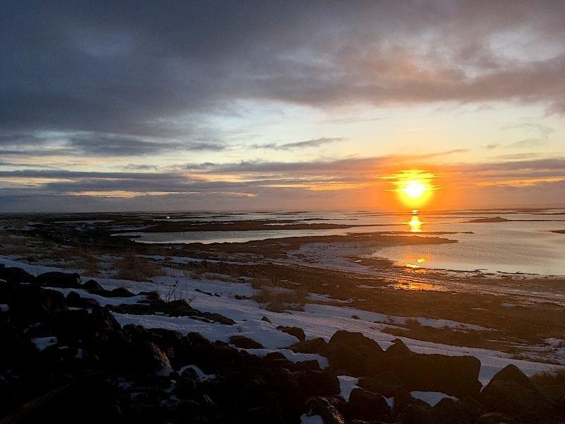 Sunrise over the sea in Iceland