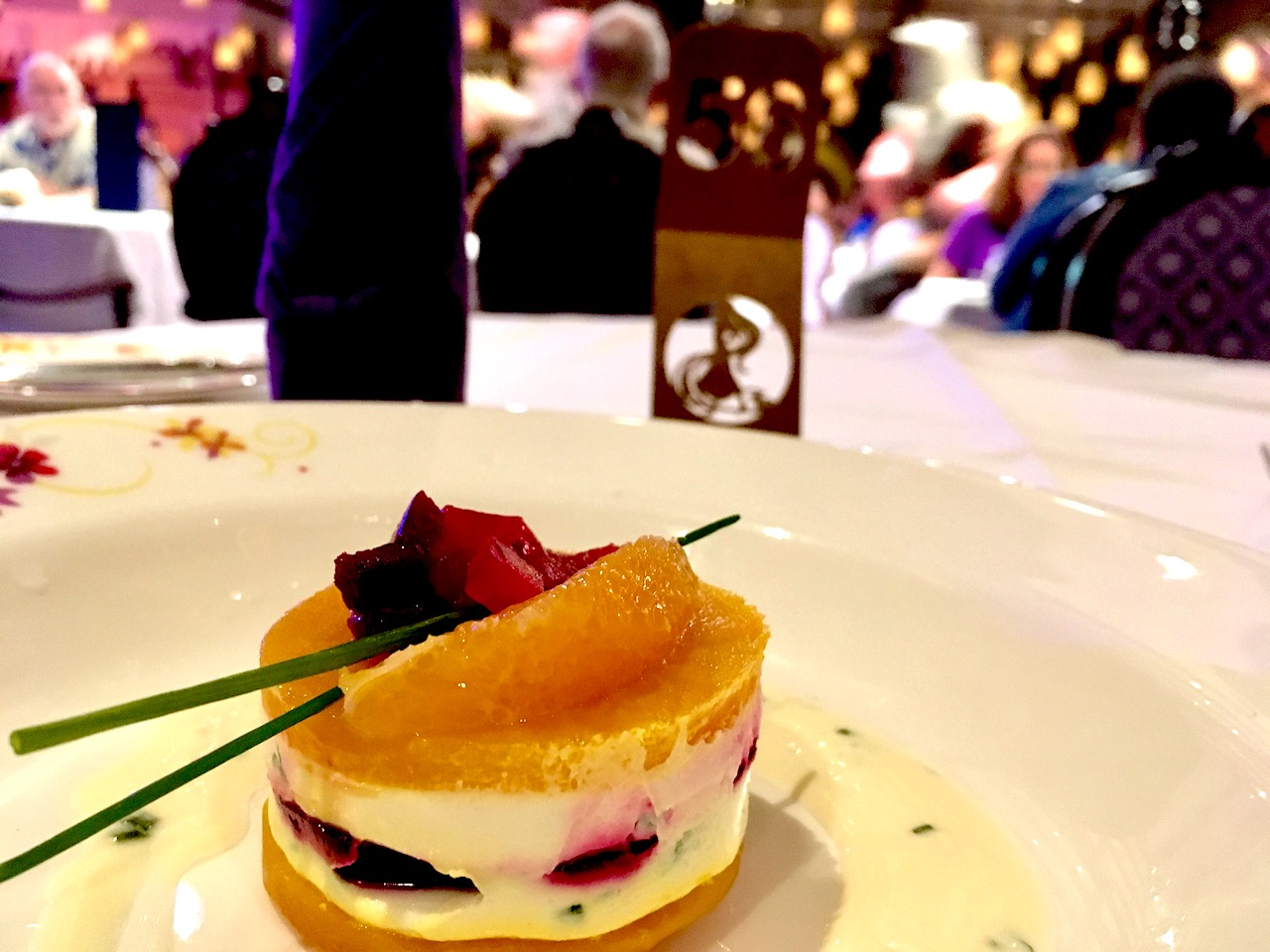 Creamy Goat Cheese and Yellow Beets at Rapunzel's Royal Table on board the Disney Magic
