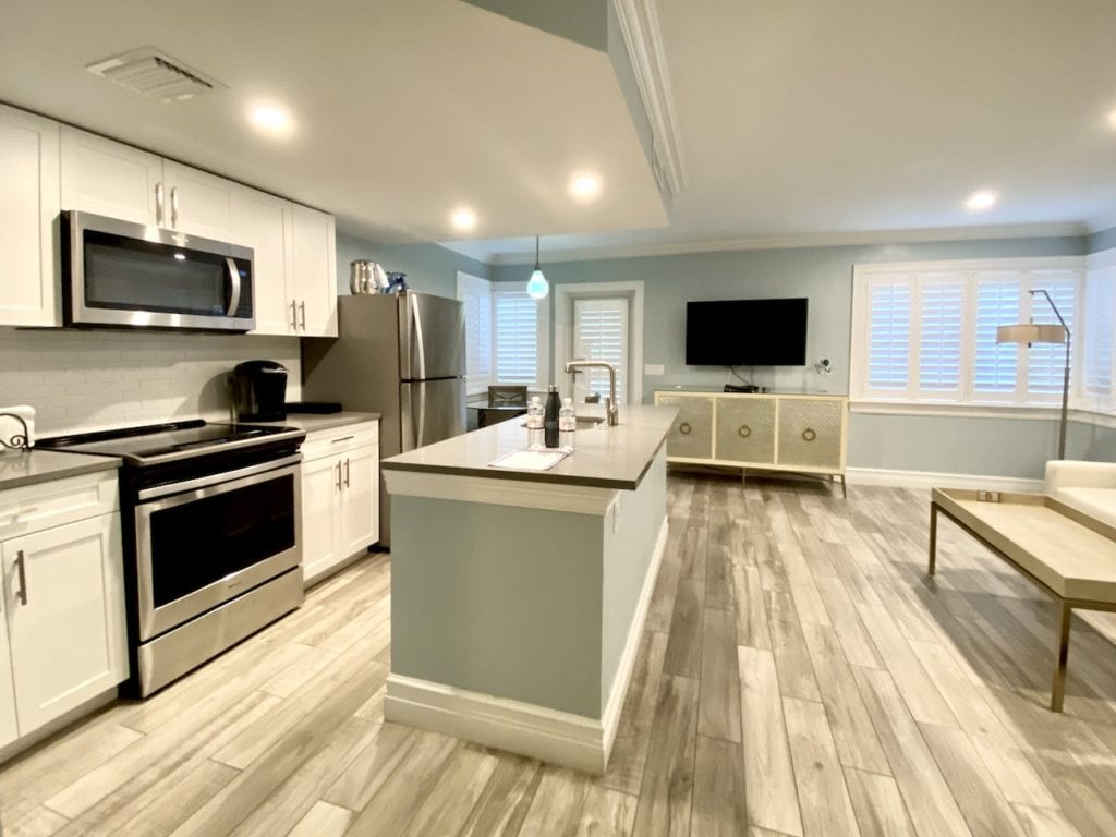 Full kitchen in Crane's Beach House one bedroom suite