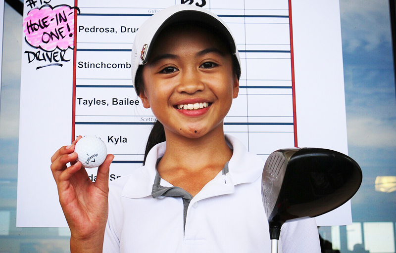 In the Girls 11-12 Division, Drucelle Pedrosa of Goodyear aced the par-3, 15th hole with a driver from 141 yards.  She went on to finish her division in 8th place.