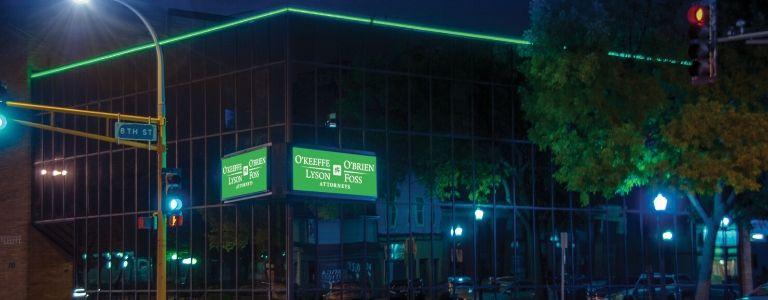 OOLF building night shot law firm fargo