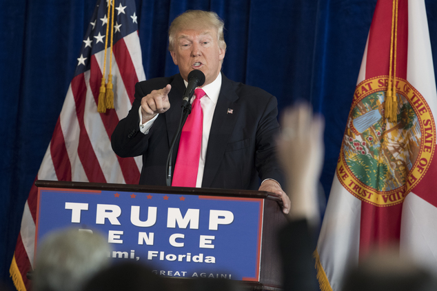 Republican presidential candidate Donald Trump speaks during a news conference at Trump National Doral, Wednesday, July 27, 2016, in Tampa, Fla. (AP Photo/Evan Vucci)