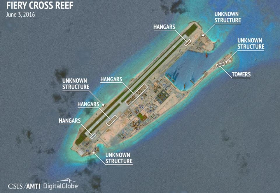Images of the Subi and Mischief Reefs in China