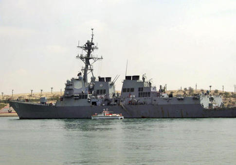 FILE- In this Saturday, March 12, 2011 file photo, U.S. destroyer USS Mason sails in the Suez canal in Ismailia, Egypt. Two missiles fired from rebel-held territory in Yemen landed near an American destroyer passing by in the Red Sea, the U.S. Navy said on Monday. (AP Photo, File)
