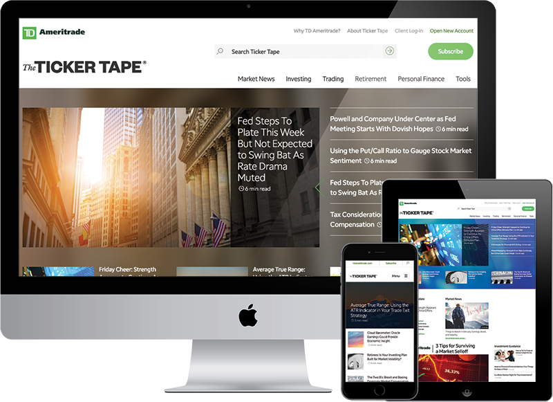 Ticker Tape on desktop, ipad, and iphone
