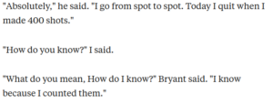 Interview with Kobe Bryant where he discusses his practice routine.