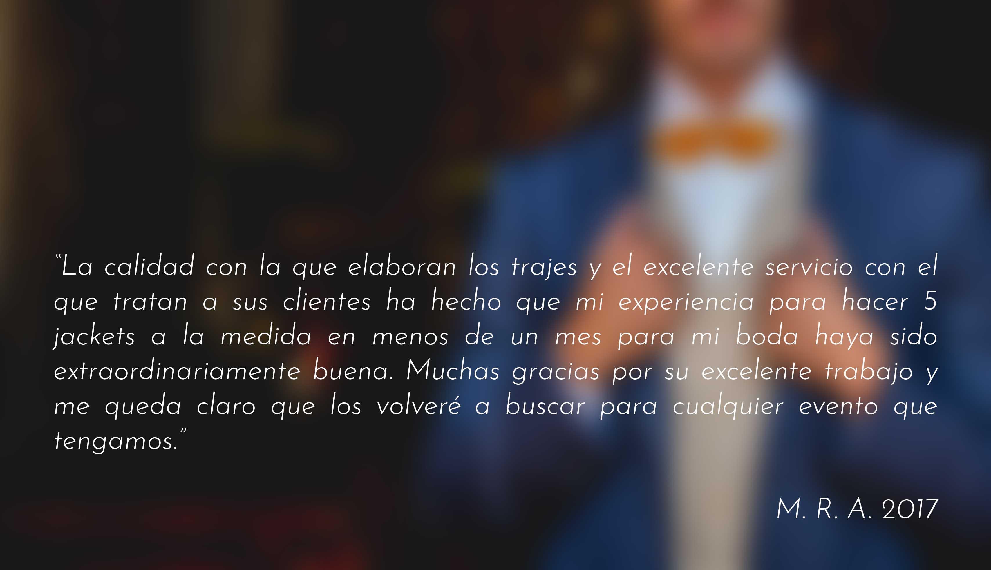 testimonios clientes 2007, jackets sobre medida para boda, Ciudad de México
