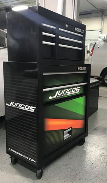 Juncos Racing Tool Cabinet wrap