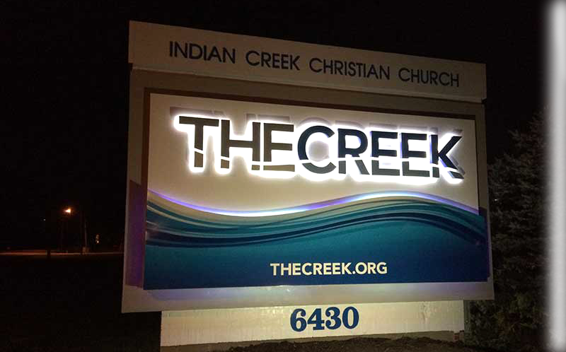 Indian Creek Christian Church Exterior Lit Sign