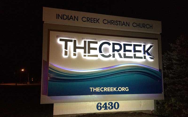 Indian Creek Christian Church Exterior Lit Sign