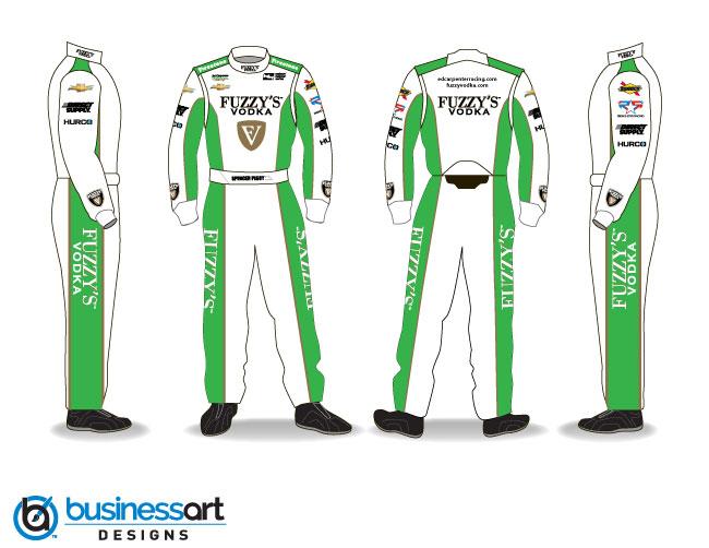 Ed Carpenter Racing Green Fire suits 2018