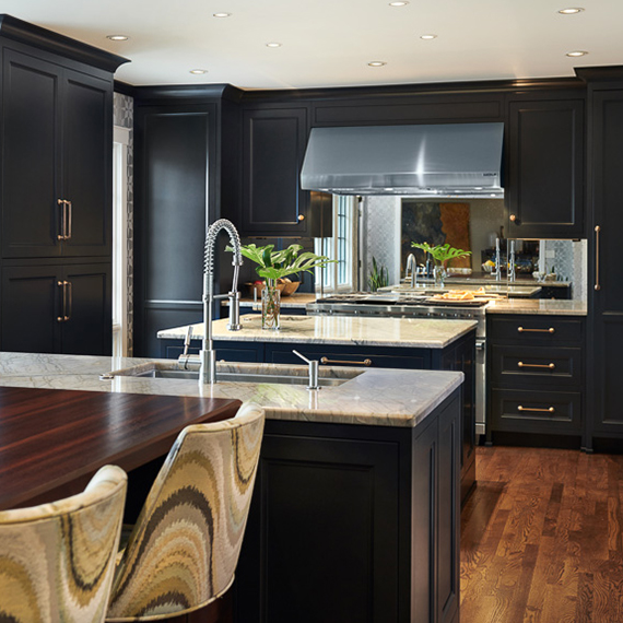 Elegant Black Transitional Kitchen Design