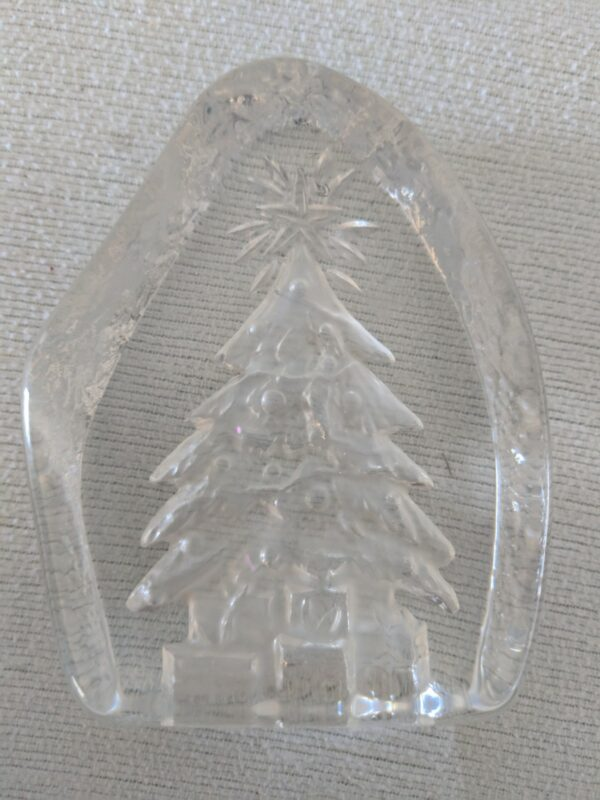 Clear Glass Christmas Tree Paperweight